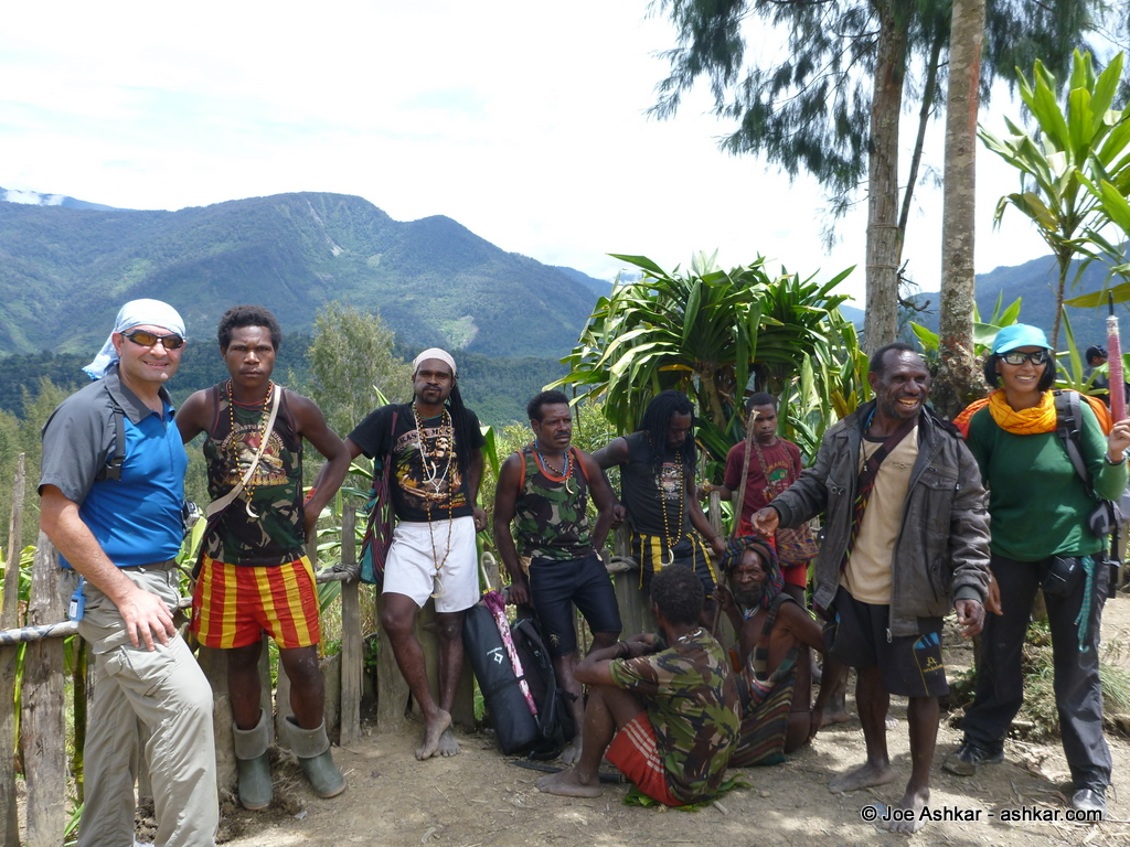 Hanging out with our porters and Dani tribe members.