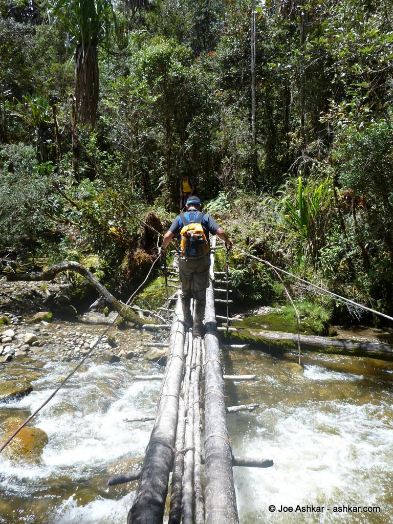 Crossing one of many slippery log bridges.
