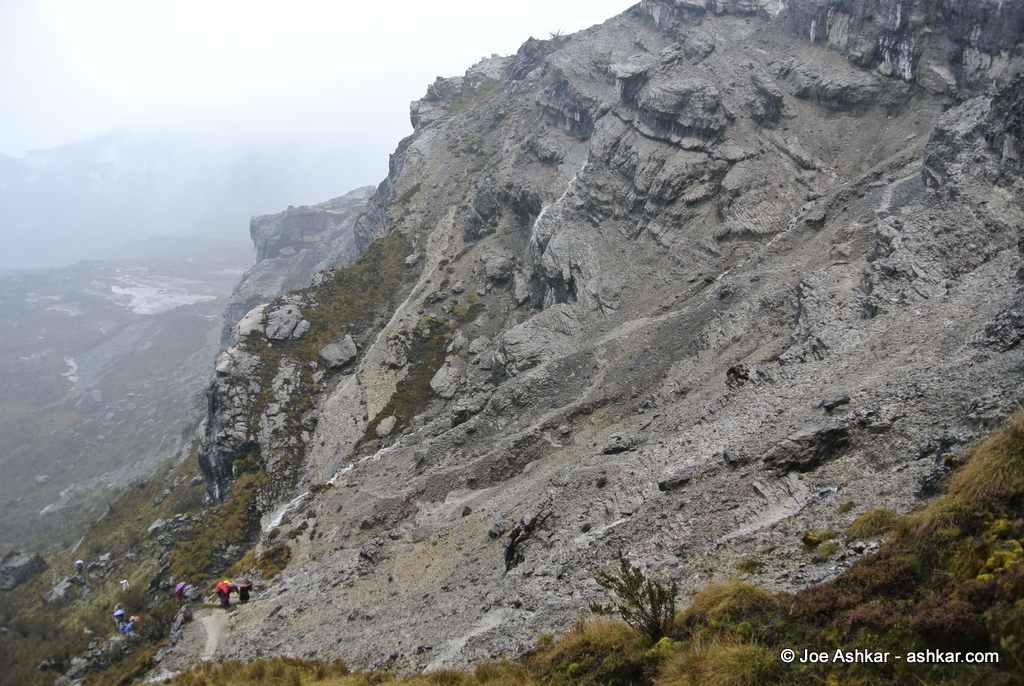The steep slope of New Zealand Pass.