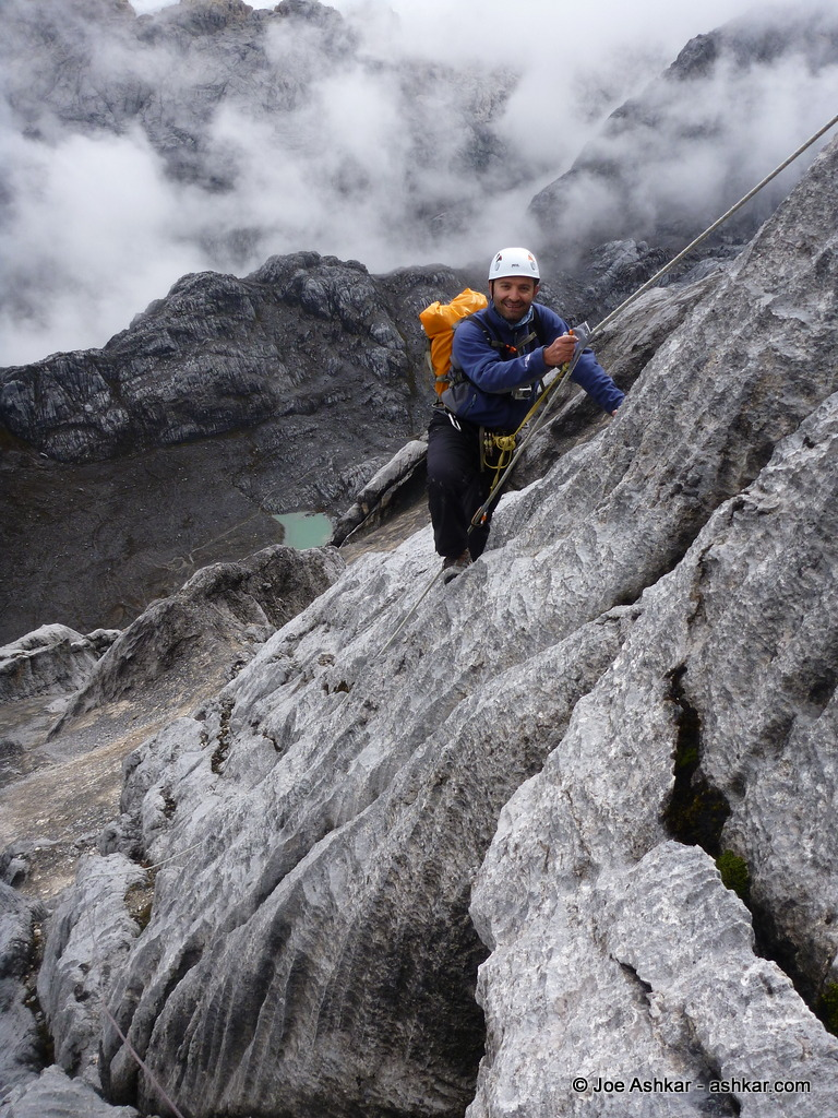 Joe Ashkar climbing up Carstensz.