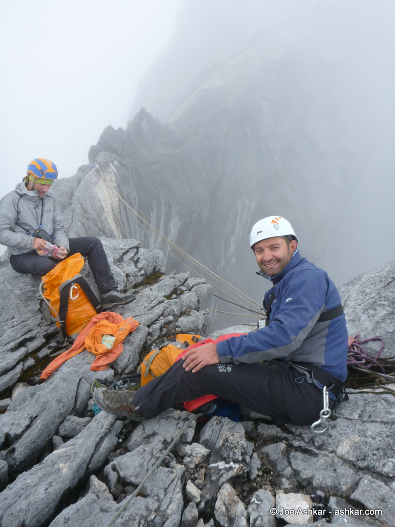 Joe Ashkar and Scott Woolums resting before the Tyrolean Traverse.