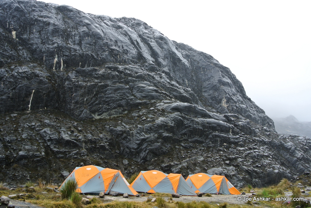 Back in the wet and muddy confines of Carstensz Base Camp.