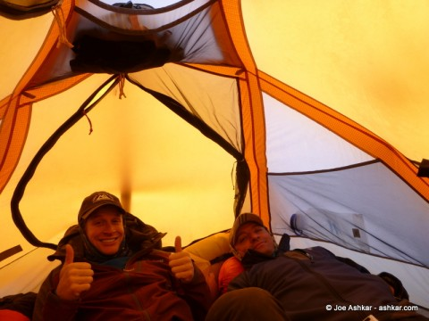 Three Men in a Tent.