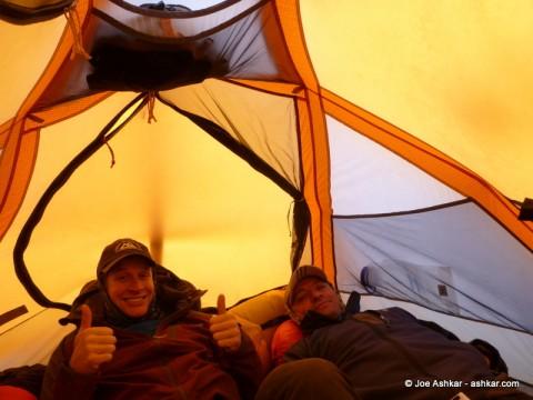 Three Men in a Tent.