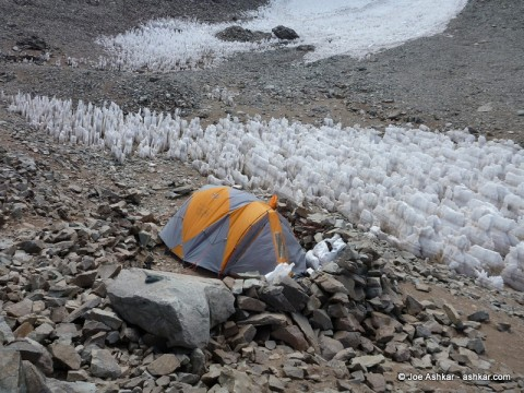 Our lone tent at Aconcagua Camp 1.