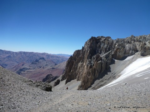 View from Ameghino Col on the way to Camp 2.
