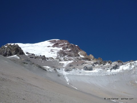 View of the Polish Glacier on the way to Camp 3.