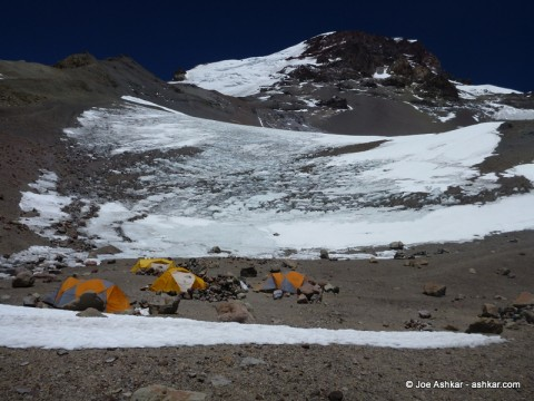 Camp 3 / Helicopter Camp at the foothills of the Polish Glacier and Aconcagua.