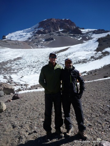 Garrett Madison & Joe Ashkar at Camp 3 with Aconcagua in the background.