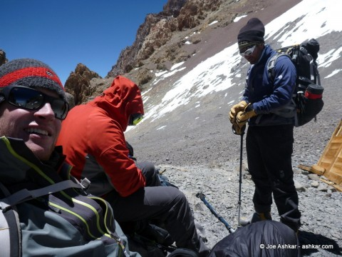 Taking a food and hydration break on Summit Day.