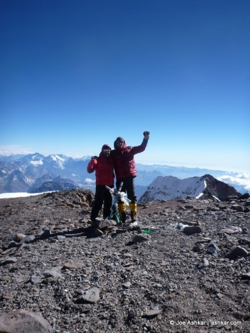Joe Ashkar & Garrett Madison celebrating on the summit of Aconcagua.