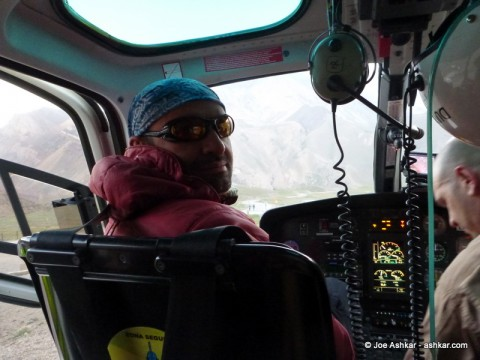 Helicoptering out of Base Camp.