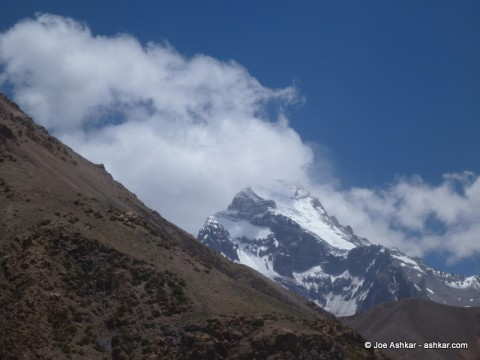 Our first glimpse of Aconcagua.