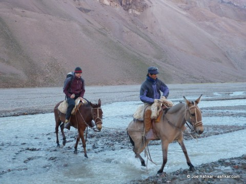Crossing the river on Mules.