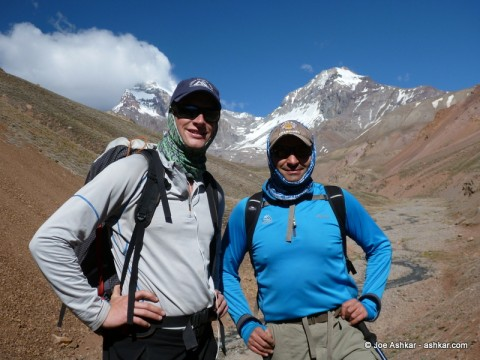 Joe Ashkar & Garrett Madison with Cerro Aconcagua and Mt. Ameghino in the background.