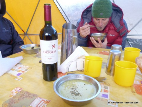 Enjoying some Soup and Malbec wine at Base Camp.