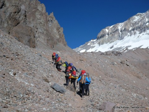 A group of climbers on an carry to camp 1.