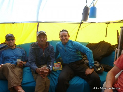 Hanging out with Lakpa Rita Sherpa at Base Camp.