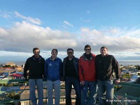 Vinson Team Members (Rosier, Sam, Joe, Roberto, Tom) exploring Punta Arenas.
