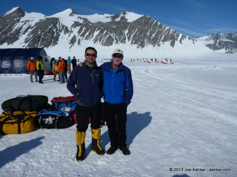 Joe Ashkar & Russell Brice at Union Glacier Base Camp, Antarctica.