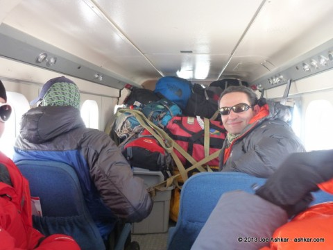 Aboard the DHC-6 Twin Otter on the way to Vinson Base Camp.