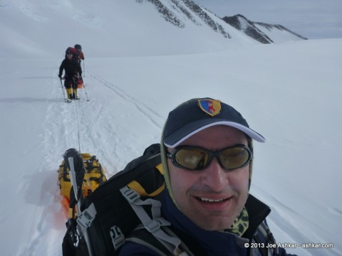 Joe Ashkar moving up on the Branscomb Glacier.