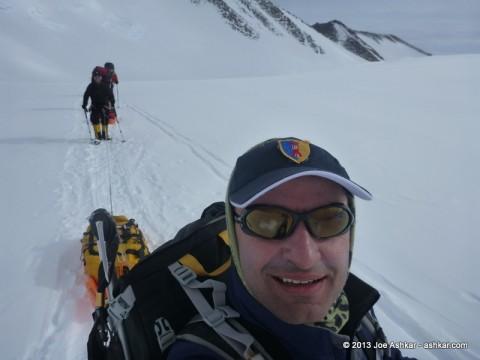 Joe Ashkar moving up on the Branscomb Glacier.