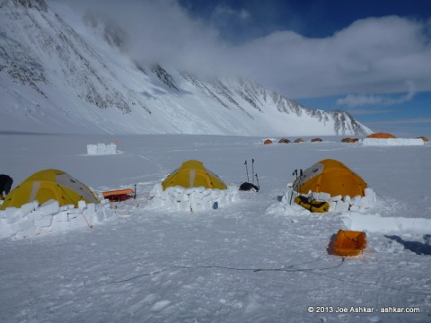 Ice walls sheltering tents from the wind at Vinson Low Camp.