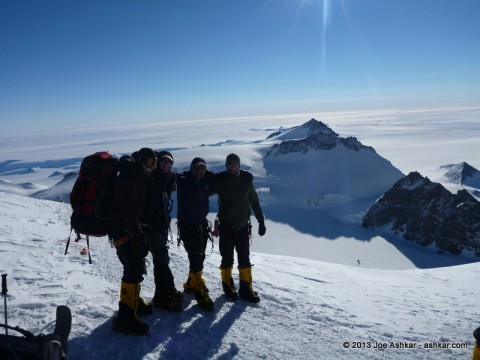 Craig York, Tom Boyer, Joe Ashkar & Garrett Madison pose for a photo on the way to High Camp on Mt. Vinson.