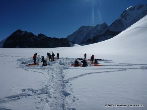 Breaking down Low Camp on Mt. Vinson.