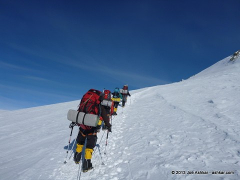 The steep climb to High Camp.