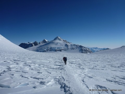 Climbing up the Vinson plateau.