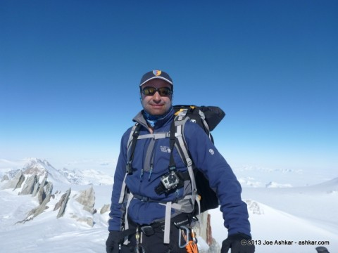 Joe Ashkar climbing up towards Mt. Vinson's Summit.