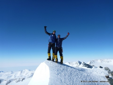 Garrett Madison and Joe Ashkar on the Summit of Mt. Vinson.