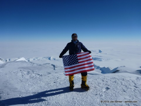 Joe Ashkar on the roof of Antarctica.