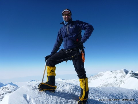 Joe Ashkar on the summit of Mt. Vinson, Antarctica.