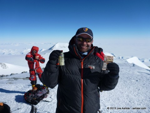 "Joe Ashkar promoting ""Honey Stinger"" natural energy products on top of Antarctica."
