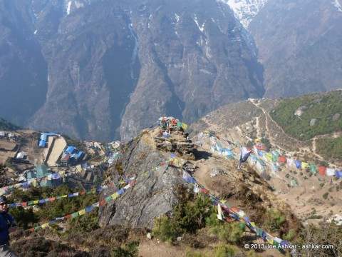 Prayer flags above Namche.
