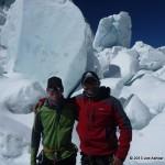 Ben Jones & Joe Ashkar in front of unstable Seracs in the Icefall.