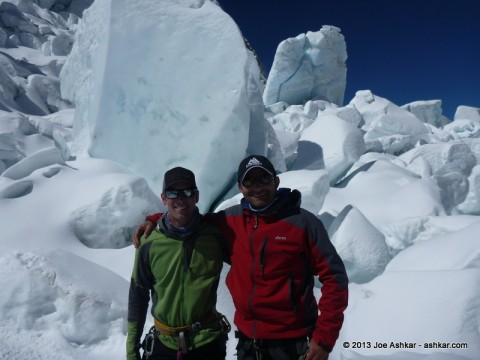 Ben Jones & Joe Ashkar in front of unstable Seracs in the Icefall.