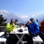 Enjoying hot drinks at the Everest View Hotel.